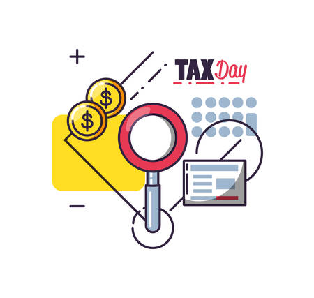 tax day with magnifying glass and set icons vector illustration design