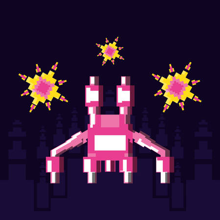 pixelated spaceship flying game icon vector illustration design