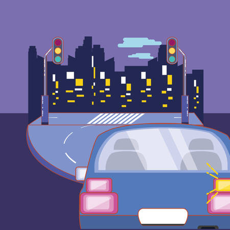 car on the road to the city over purple background, colorful design. vector illustration
