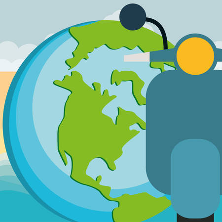 world planet earth with motorcycle vector illustration design Foto de archivo - 129525374