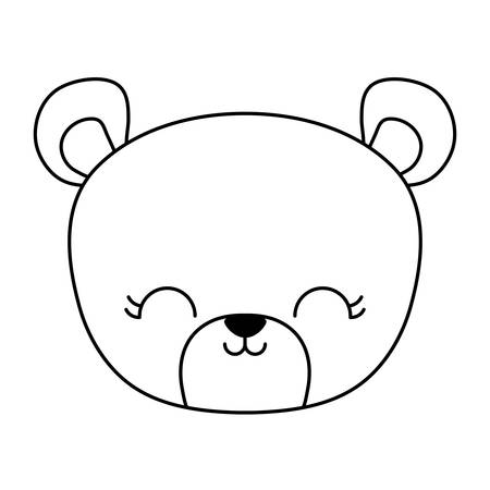 head of cute bear animal isolated icon vector illustration design Çizim