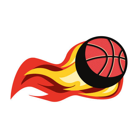 flaming basketball ball sport vector illustration design 向量圖像