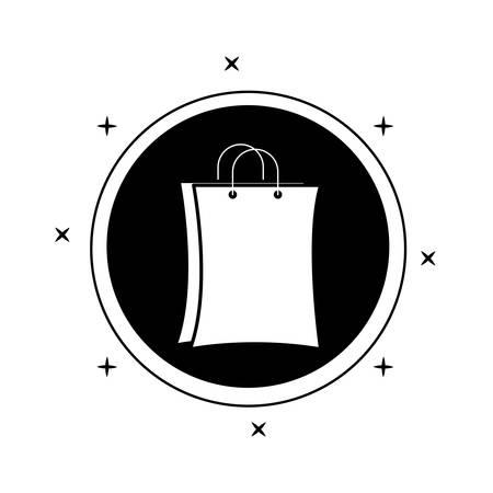shopping bag in frame circular vector illustration design