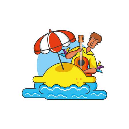 man brazilian dancer in beach vector illustration design Stock fotó - 129526683