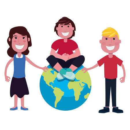 group teenegers world on white background vector illustration