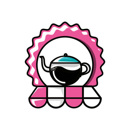 seal with teapot kitchen and parasol vector illustration design