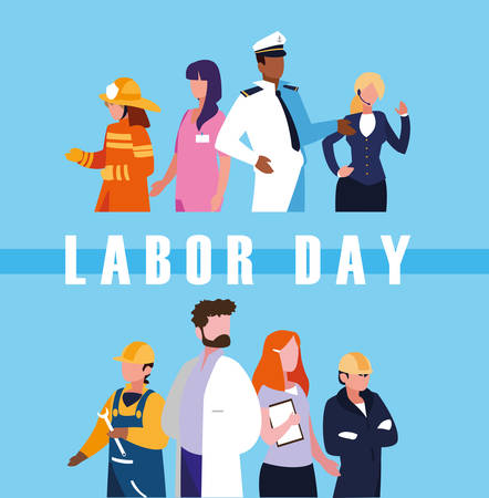 labor day celebration with group professionals vector illustration design