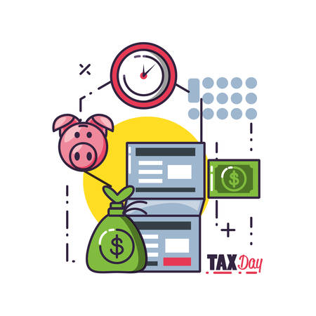 tax day with document and set icons vector illustration design Ilustração