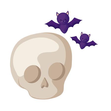 bats flying halloween with skull vector illustration design Stock Illustratie