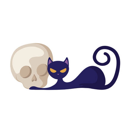 cat animal of halloween with skull vector illustration design