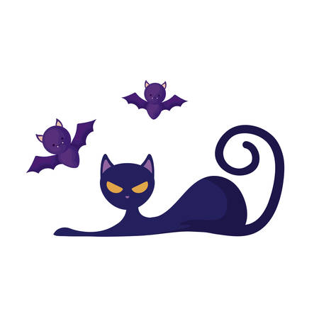 cat animal of halloween with bats flying vector illustration design
