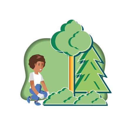 boy with eco friendly scene vector illustration design  イラスト・ベクター素材