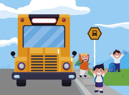 happy little schoolboys characters vector illustration design Ilustração