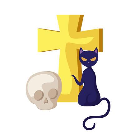 cat halloween with cross and skull vector illustration design Foto de archivo - 129655338