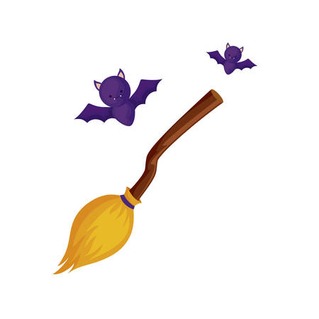 bats flying halloween with broom witch vector illustration design