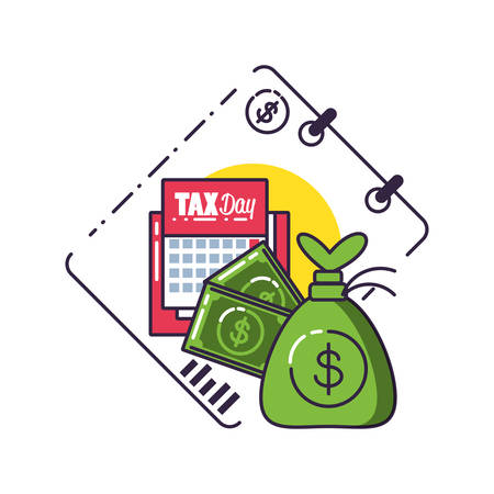 tax day with money bag and set icons vector illustration design