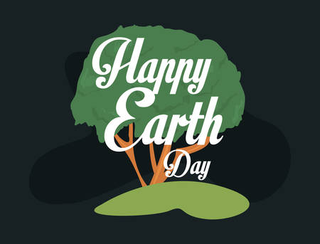 tree happy earth day lettering vector illustration