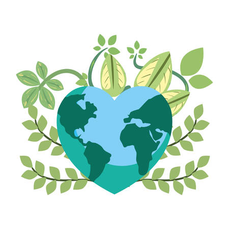 world shaped heart branches happy earth day vector illustration 일러스트