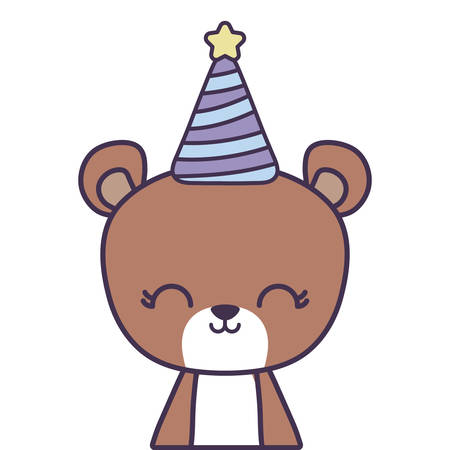 cute bear animal with hat party vector illustration design Stock Illustratie