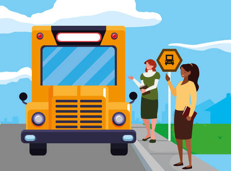 interracial female teachers in stop bus characters vector illustration design Banque d'images - 129655699