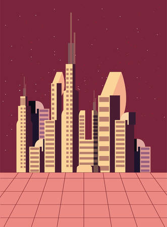 future building architecture city space vector illustration