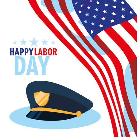 labor day card with police hat and flag usa vector illustration design