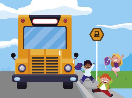 happy little interracial school kids in the bus stop vector illustration design Stock Illustratie