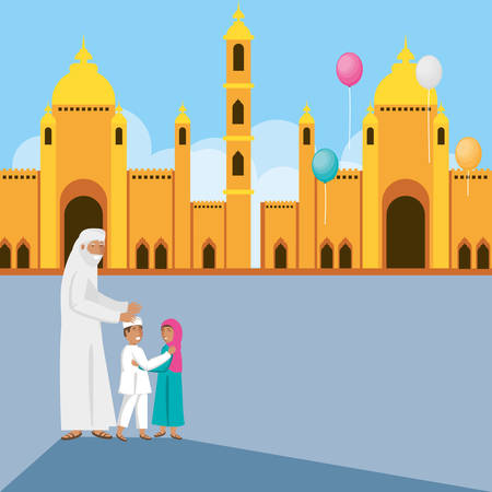 old islamic man with family in mosque vector illustration design