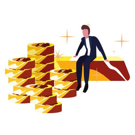 businessman gold bar coins money bank vector illustration vector illustration