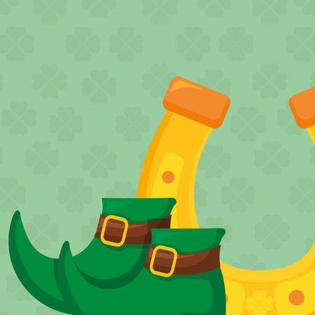 horseshoe lucky with shoes vector illustration design