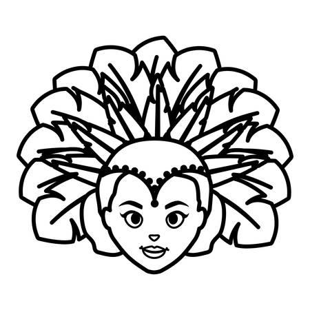 beautiful brazilian girl head character vector illustration design