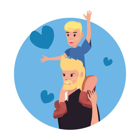 dad carrying son on shoulders hearts love happy fathers day vector illustration Stock Illustratie