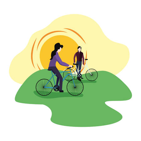 couple with bikes outdoors activities vector illustration