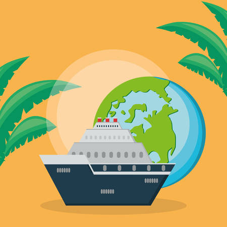 cruise ship travel with world planet vector illustration design Çizim