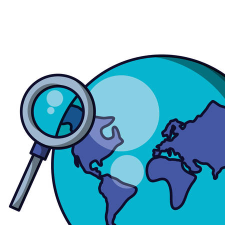planet earth with magnifying glass vector illustration design