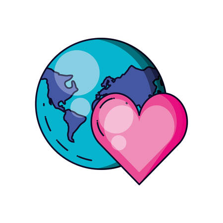 heart love with planet earth vector illustration design