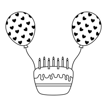 sweet cake of birthday with balloons helium vector illustration design Stock Illustratie