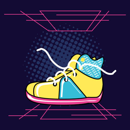 shoe tennis of nineties retro vector illustration design Çizim