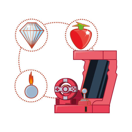 retro console video game machine with set icons vector illustration design Stock Illustratie