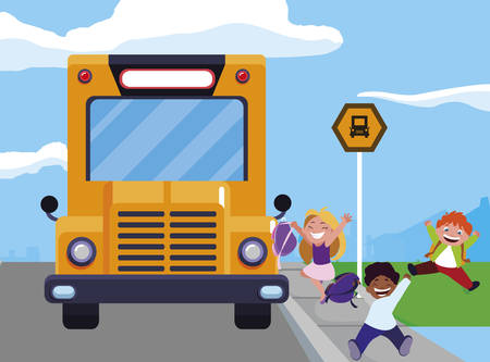 happy little interracial school kids in the bus stop vector illustration design Stock Illustratie