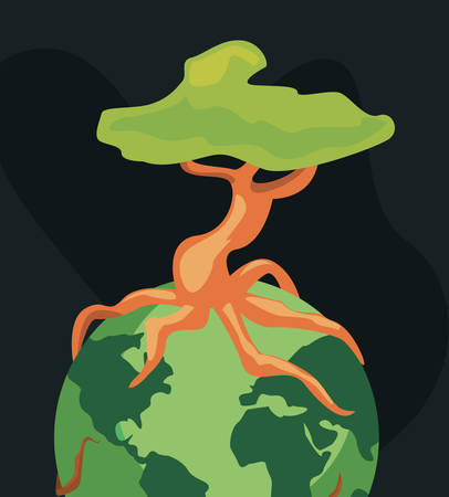 world with tree root happy earth day vector illustration 일러스트