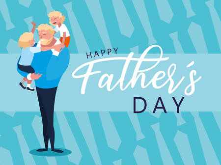 happy father day card with dad and children vector illustration design Archivio Fotografico - 129656569