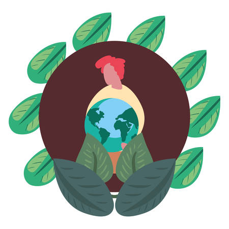 man holding world leaves earth day vector illustration