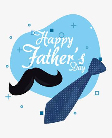 hipster mustache tie happy fathers day vector illustration Archivio Fotografico - 129656603