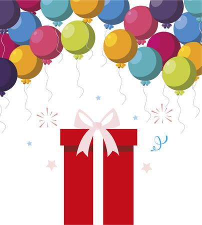 gift box present with balloons helium vector illustration design 일러스트