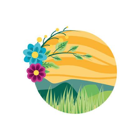 landscape nature in frame circular with flowers vector illustration design