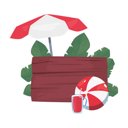 summer time holiday wooden board ball juice umbrella leaves vector illustration