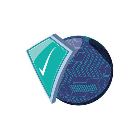 shield secure with circuit electronic vector illustration design Archivio Fotografico - 129656734