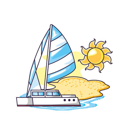 sailboat travel in the beach with sun vector illustration design