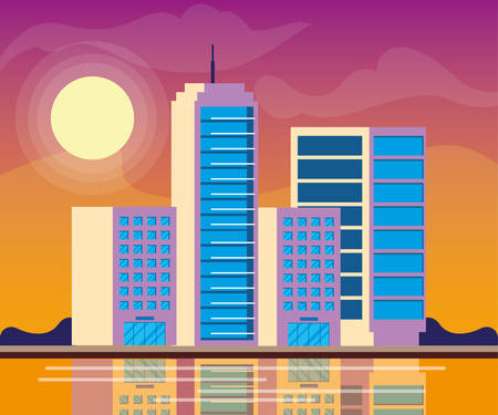 cityscape buildings day scene vector illustration design